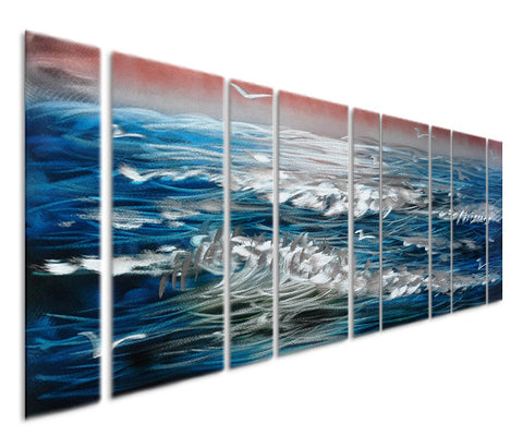 Sapphire Waves Oversized Wall Art Set of 9