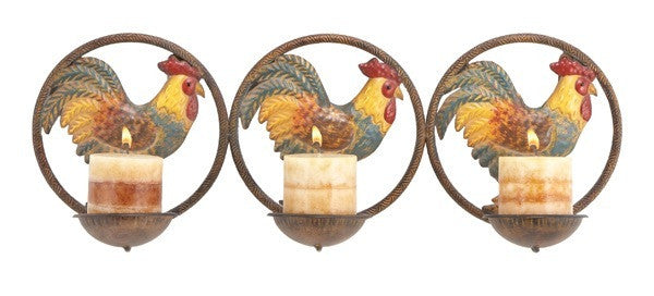 Ringed Roosters Wall Candle Sconces