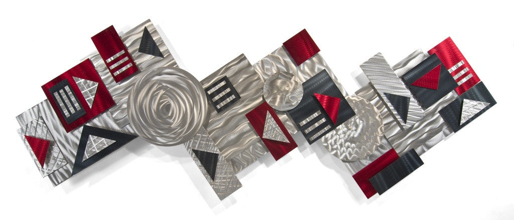 Geo Graphic Abstract Metal Wall Sculpture Set of 3