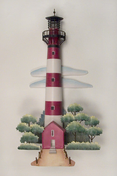 Red & White Striped Famous Lighthouse Metal Wall Art