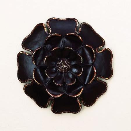 "14"" Ebony Petals Handmade Metal Wall Sculpture"