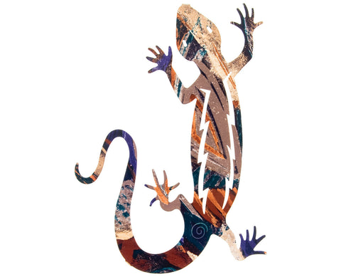 Climbing Gecko Metal Wall Art