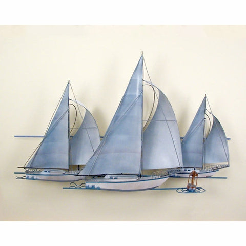 Fleet of Sailing Ships Nautical Metal Wall Art