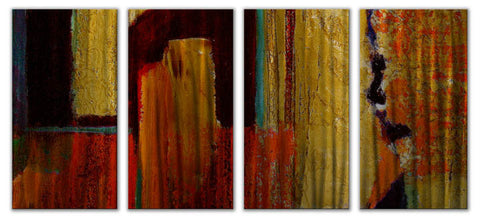 Color Excursion Abstract Four-Piece Metal Wall Hanging