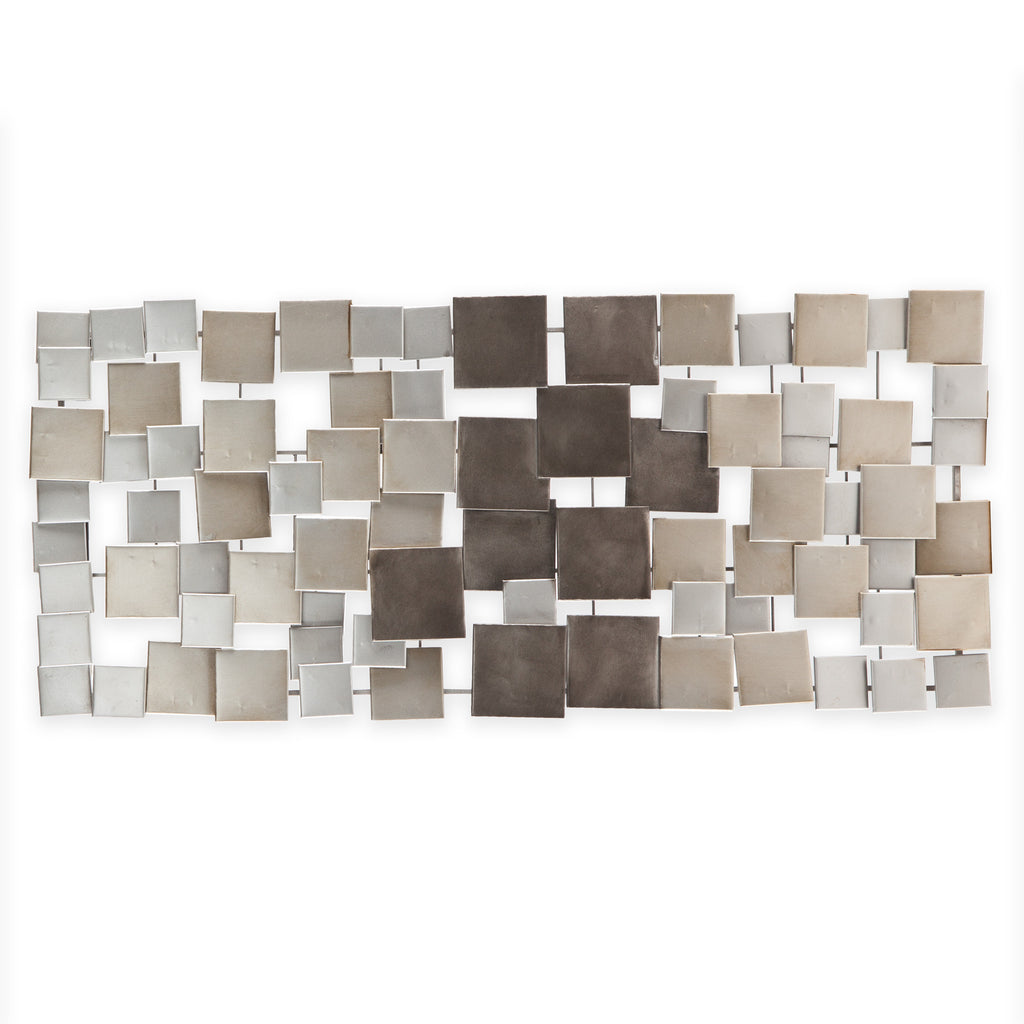 Abstract Silver Squares Contemporary Metal Wall Art Sculpture