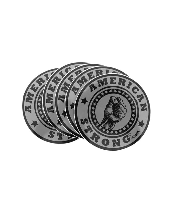 "AMERICAN STRONG 5"" FIST Decals - GRAY (5 Pack)"