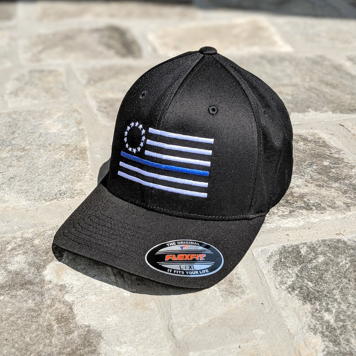 Thin Blue Line Betsy Ross Flag Black Flexfit Hat