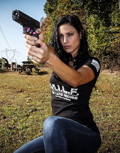 M.I.L.F. - Man I love Firearms! WOMENS VNECK