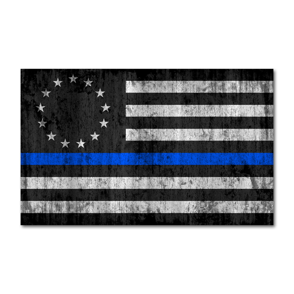 Thin Blue Line Betsy Ross Flag Decal