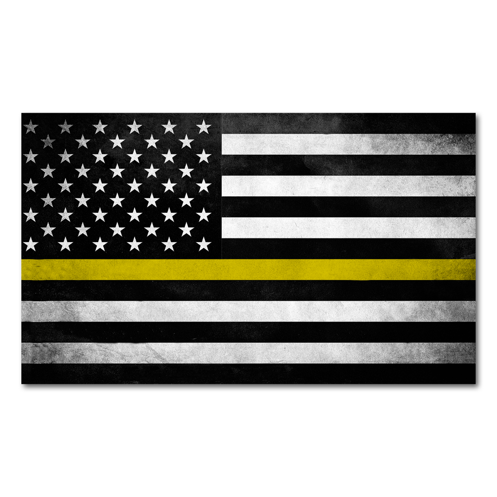 Thin Yellow Line Flag Decal