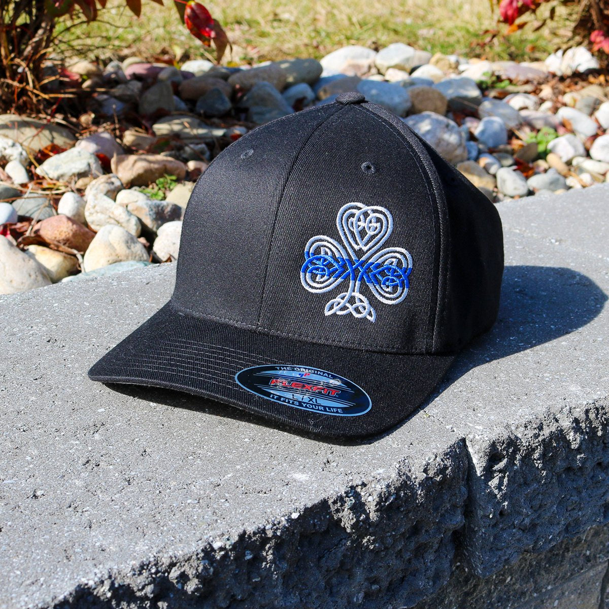 Thin Blue Line Celtic Shamrock Black Flexfit Hat