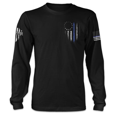 Thin Blue Line Betsy Ross Flag Long Sleeve