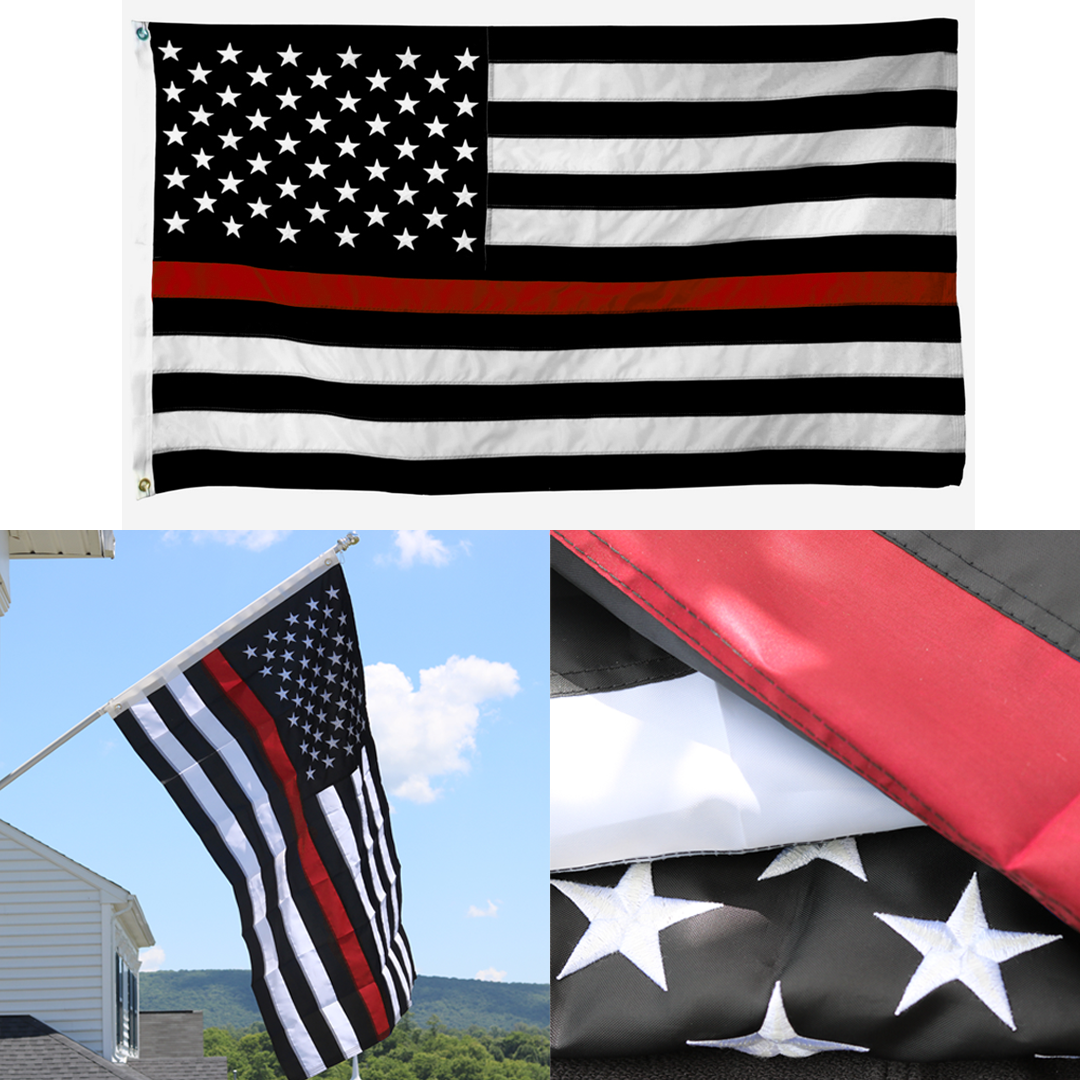 Embroidered Thin Red Line American Flag
