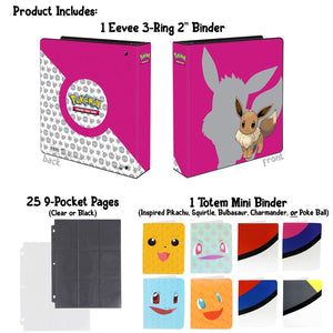 Totem World Eevee 3-Ring Binder with 25 9-Pocket Pages and 1 Mini Album Inspired Poke Ball, Pikachu, Charmander, Squirtle, or Bulbasaur