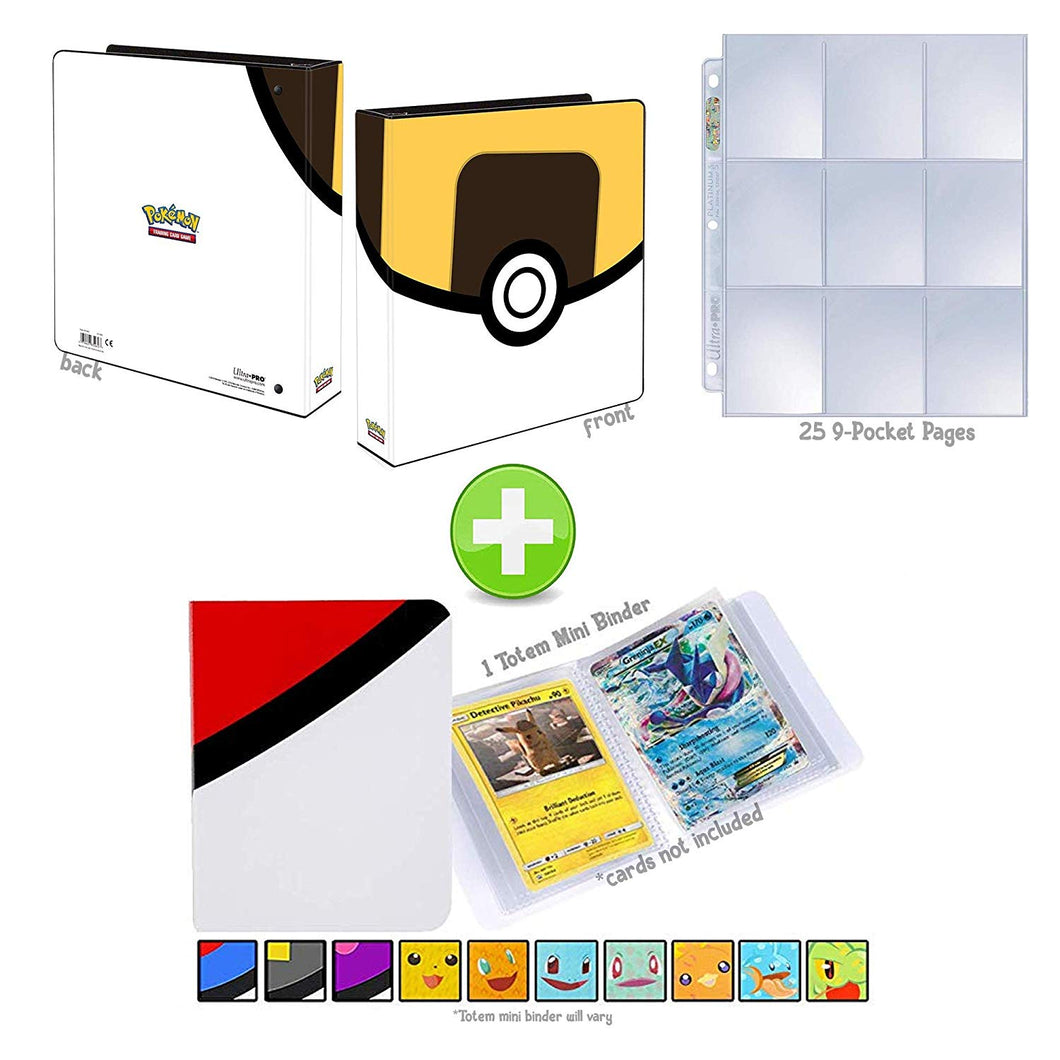 Totem World Ultra Ball 3-Ring Binder with 25 9-Pocket Pages and a Mini Binder Collectors Album for Pokemon Cards