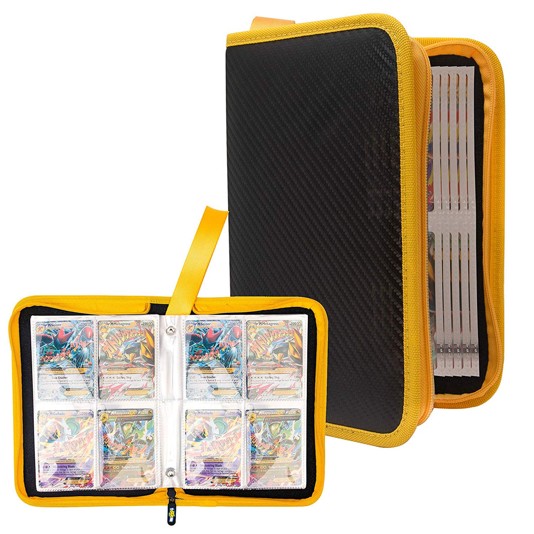 Totem World Zipper Binder Black Yellow with 25 4-Pocket Side-Loading Pages