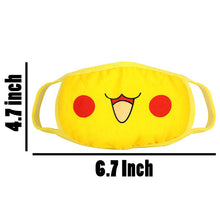 Load image into Gallery viewer, Face Mask Respirator Pikachu Mouth Cover Cotton Muffle Face Mask Yellow 1pc