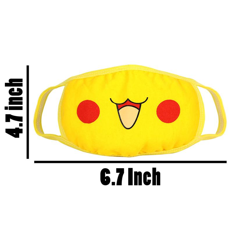 Face Mask Respirator Pikachu Mouth Cover Cotton Muffle Face Mask Yellow 1pc