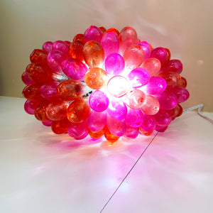 Syrian Hand-Blown Glass Light Fixture Small - Orange/Pink