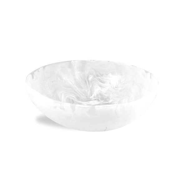 Resin Wave Bowl Medium - White Swirl
