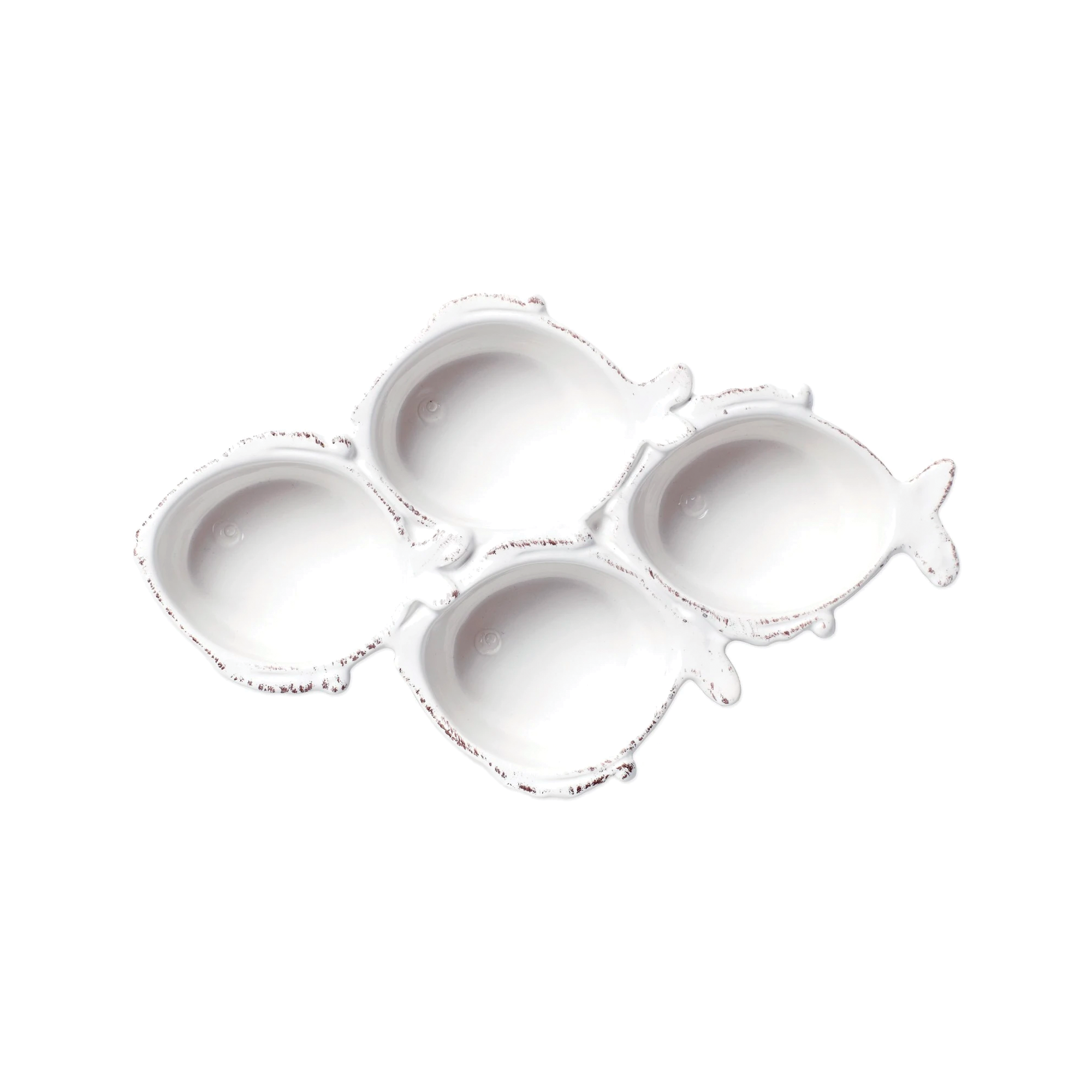 Melamine Lastra Fish White Four-Part Server