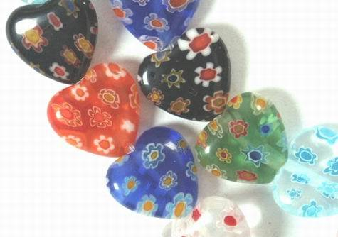 Colourful Hawiian Lampwork Heart Beads
