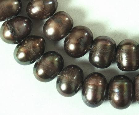 Large Tungston-Brown Potato Pearl String - Unusual!