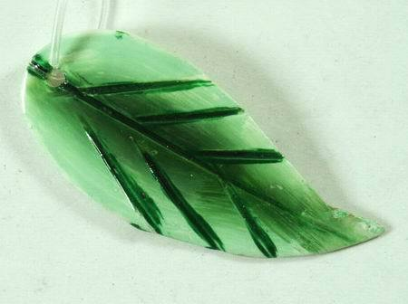Green Leaf Mother-of-Pearl Beads - Unusual!