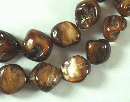 Roasted Gold Mother-of-Pearl Nugget Beads