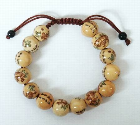 Chinese Writing & Flowers 12mm Bead Bracelet