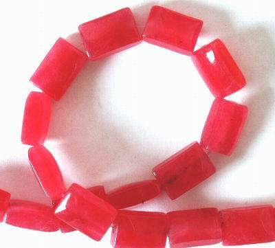 Seductive Ruby  Red Jade Cushion Beads -10mm
