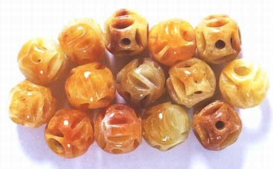 14 Carved Golden Yellow Chinese Jade Round Beads