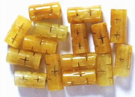 14 Carved Golden Yellow Chinese Jade Tube Beads