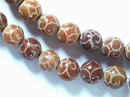 Unusual 12mm Carved Jasper Beads