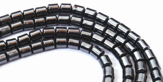 Icy Black Hematite Tube Beads