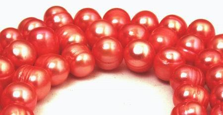 Large 9mm Cherry Red Pearl String
