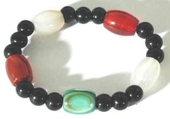 Beautiful Chinese Carnelian, Onyx, & Agate Bracelet