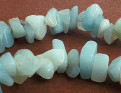 Aqua Blue Amazonite Chips - Long 32-inch String