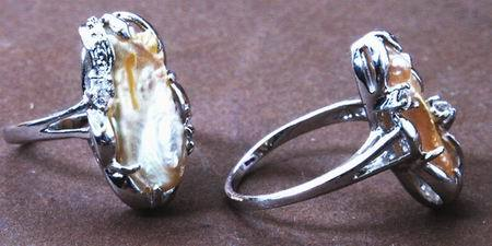 Beautiful Champagne Biwa Pearl Ring