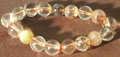 Unusual 10mm Rutilated Quartz Bead Bracelet