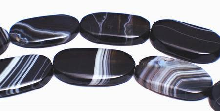 Large Black Sardonyx Oval Beads - Highly Polished!