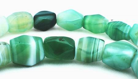Faceted Green Sardonyx Agate Bead String