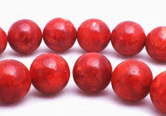 Lush Red Coral Sponge 10mm Beads