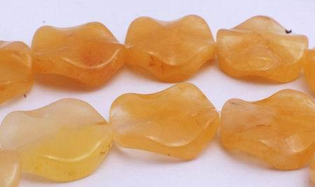 Yellow Topaz Wavy Round Beads - Unusual!