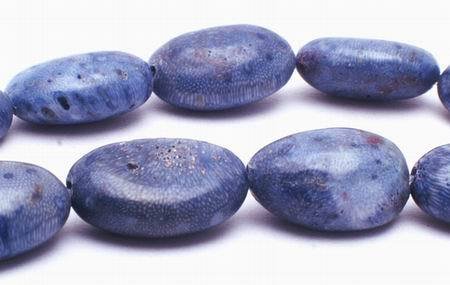 Denim Blue Sponge Coral Flat  Oval Beads - Large