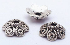 50 Victorian Silver Flower Bead Caps