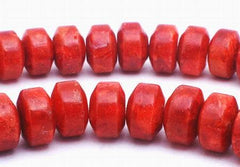 80 Ox Blood Red Coral Sponge Rondell Beads