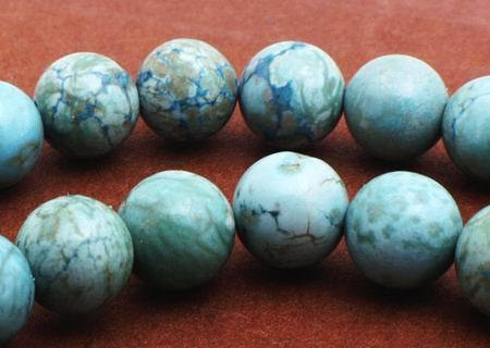 72 Spider Vein Turquoise Beads - 6mm