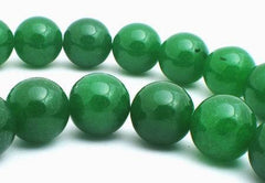 Vivid Large 14mm Green Jade Beads