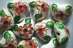 10 Oriental Cloisonne Heart Beads - unusual